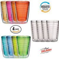 Plastic Tumblers Double Wall Insulation 16 Oz Warm Or Cold Beverages 4 Piece Set
