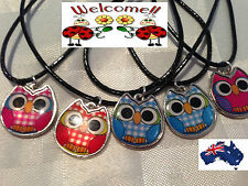 5 X MIXED OWLS PENDANTS WITH BLACK SKIN NECKLACE  AUS SELLER 68W