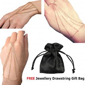 Womens Slave Chain Finger Bangle Hand Harness Bracelet Tassle festival - GOLD