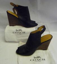 COACH NY NWOT Womens 7B Wedge Black Heels Peeptoe Slingback Lthr Buckle Lindsay