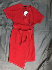 Ladies size 8 short sleeve lined red wrap-over dress NEXT Tailoring *NEW+TAGS*