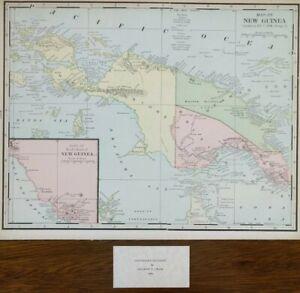 "Vintage 1900 NEW GUINEA Map 14""x11"" ~ Old Antique Original PORT MORESBY"