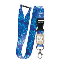 BLUE / WATER MOSAIC Lanyard integrated NURSE FOB WATCH Beautiful Neck Strap