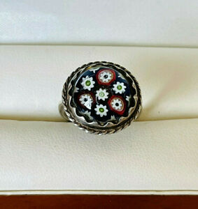 VINTAGE JEWELLERY SCOTTISH CAITHNESS GLASS STERLING SILVER RING (1976)
