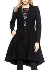 New NWT Alice + Olivia Mary Wool Arched Hem High Low Black Dress Coat 4 6 MEDIUM