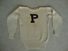 "Vintage 40's ""P"" Wool Knit Letter Letterman Sweater M"