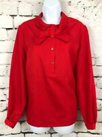 DONOVAN GALVANI DALLAS Shirt Women's Vintage Polyester Blouse Top Red Pussy Bow