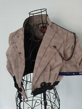 Hugo Boss Wool Cotton Checked Cropped Blazer Jacket with Chain detail  Size UK8