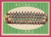1961 Topps Football # 37 Detroit Lions Team Card -- Box 708-169