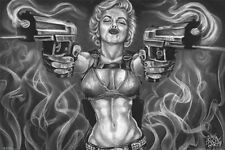 MARILYN MONROE - GUNS ART POSTER - 24x36 TATTOO JAMES DANGER HARVEY 3254