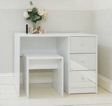 White Mirrored Three Drawer Dressing Table & Stool Bedroom
