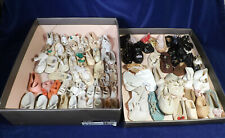 Lot 101 Antique Vintage Doll Shoes Plastic Leather Cloth ALL SINGLES ALL SIZES
