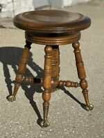 """Antique VICTORIAN Vintage 22"""" Adjustable Wood Piano Organ Brass Ball Claw Stool"""