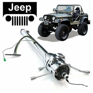 "66-73 Jeep CJ DJ 33"" GM STYLE Chrome TILT STEERING COLUMN SHIFT iron duke super"