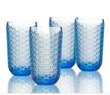 Elle Decor  Blue Glass Set 14 oz 4 Piece Barware