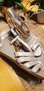 "Amazing Designer ""Via Spiga"" Genuine Taupe Leather Wedge Heels in Size 9.5"