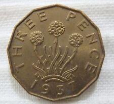1937 Great Britain England United Kingdom 3 Three Pence 3d Brilliant Unc. Spots