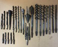 VINTAGE Woodworking Tools Brace Bit Hand Drill Auger Drill Bits Lot ANTIQUE ☆USA