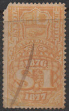 1876-7, 1 sol yellow/orange Peru Fiscal, Revenue, Cinderella.