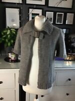 Wool Alpaca Mix Cardigan Vest Cape Grey L 10 12 14 16 Lagenlook Made In Italy