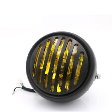 "Motorcycle 6 1/2"" Amber Grill Headlight Side Mount for Harley Cafe Racer Bobber"