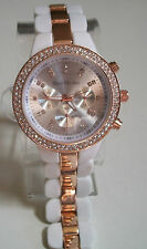 Chunky Oversized  Rose Gold/White Chrono Style Bracelet Crystal Watch