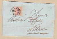 LOMBARDO VENETO 15 c su lettera 1855 da Cremona a Milano + annullo raro