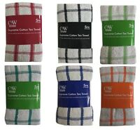 Pack of 5 Terry Tea Towels Set 100% Cotton Kitchen Dish Cloths Cleaning Drying