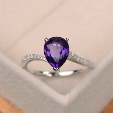 Amethyst Gemstone Ring 1.96 ct Natural Diamond Rings Real 14K White Gold Ring