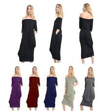 Women's Ladies Off Shoulder Baggy Short Sleeves Lagenlook Midi Dress Plus Sizes