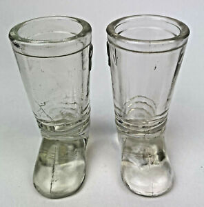 2 Clear Vintage Glass Boots BOYD