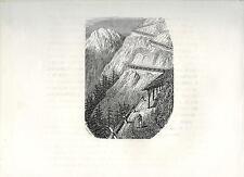 Stampa antica VALTELLINA STRADA verso PASSO dello STELVIO Sondrio 1885 Old print