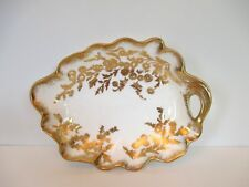 "Hammersley ""Golden Fansy"" Leaf Dish with Handle, England"