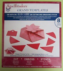 Spellbinders GRAND CALIBUR Templates Hexagon Pinwheel Top Box 8 Die Set LF-008