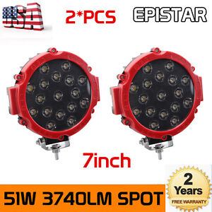 2x 7inch 51W Round OffRoad Led Work Lights RED Truck Bumper Driving Black Slim