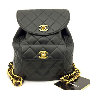 CHANEL Quilted Matelasse CC Logo Lambskin Chain Backpack Black /70798