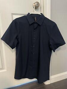 Lululemon Navy Short Sleeve Dress Shirt Mens Medium