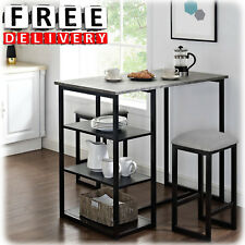 Metal Pub Set Breakfast Table Dining Stools Kitchen Storage Bar 3 Piece  Portable