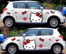 2pcs Cute Hello Kitty Car Door Mirror Hood Motor Red Bow Vinyl Decal Sticker New