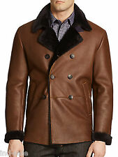 Custom Tailor Made All Size Distressed Genuine Blazer Coat FUR Leather Jacket