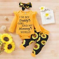 Baby Mädchen Kleidung Brief Strampler Jumpsuit Tops + Hosen Stirnband Outfit Set