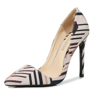Women's high heels sexy color matching suede striped stiletto pointed toe 11cm
