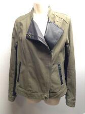 ANDREW MARC NY~ Cotton Leather Contrast Side Zip MOTO Biker Jacket M