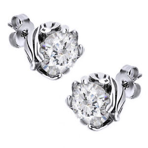 Lab-Created Sapphire Stud Flower Earrings 14K White Gold Over Sterling Silver