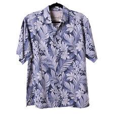 New Tommy Bahama Hawaiian Shirt Size M Silk Cotton Blend Gray Floral