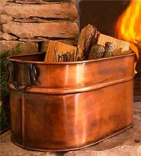 Large Firewood Bucket Bin Fireplace Antique Copper Finish Indoor Log Wood Holder