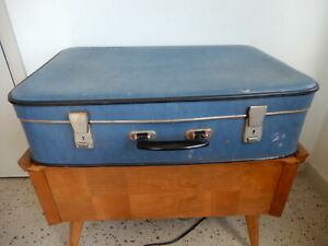 Vintage Suitcase Blue Lined 24.5ins Strap & Supports  Prop Display 1960s Used