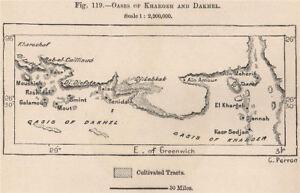 Oases of Kharga/Al-Kharijah and Dakhla. Egypt 1885 old antique map plan chart
