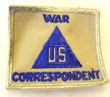 """WWII ARMY """"US WAR CORRESPONDENT"""" NON-COMBATANT PATCH LIGHT OD TAN BORDER CE"""