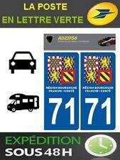 2 AUTOCOLLANT PLAQUE IMMATRICULATION DEPARTEMENT 71 LOGO BOURGOGNE FRANCHE COMTE